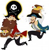 image of plunder  - Illustration of Male Pirates Chasing each other while carrying Treasure Chest - JPG