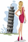 Woman near Leaning Tower of Pisa