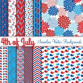 Fourth of July Vector Seamless Tileable Backgrounds