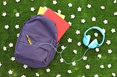 School backpack with books and headphones on a green grass with daisy flowers