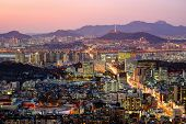 Aerial twilight view of Seoul, South Korea.
