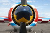 stock photo of aerobatics  - The spinner and propeller of an aerobatic airplane - JPG