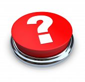 stock photo of question-mark  - A round red question mark button on a white background - JPG