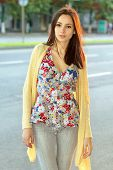 Pretty Brunette In Flowered Blouse