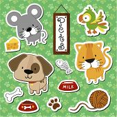 stock photo of cartoon animal  - set of cute baby animals stickers on seamless pattern background - JPG