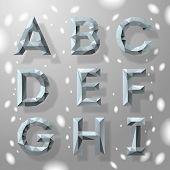 Trendy grey fractal geometric alphabet, part 1.
