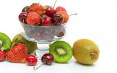 Cherry, Strawberry And Kiwi Closeup On White Background