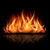 picture of fireball  - Fire on dark background - JPG