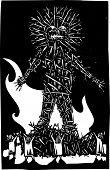 stock photo of gaul  - Woodcut style expressionist image of pagan Celtic wicker man bonfire and sacrifice - JPG