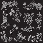 Vector Set of Chalk Style Hand Drawn Flowers