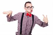 picture of crazy face  - Crazy nerd man making funny faces isolated on white background - JPG