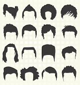 Vector Set: Men's Hairstyle Elements