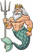 Cartoon Poseidon. Vector clip art illustration with simple gradients. All in a single layer.