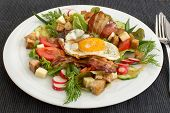 image of bacon  - Village salad also called peasant salad greek salad or country salad - JPG