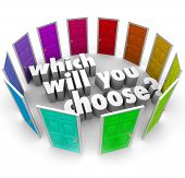 The question Which Will You Choose? surrounded by many different doors leading to opportunities in l