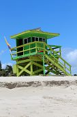 Colorful lifeguard station at the beach
