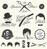 Vector Set: Barber Vintage Shop etiquetas