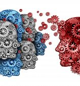 image of strategy  - Business training group organization as a company team of students learning from a mentor in red sharing a common strategy and vision for education success as gears and cogs shaped as a human head on a white background - JPG