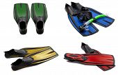 Set Of Multicolored Swim Fins, Masks, Snorkel For Diving With Water Drops
