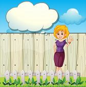 Illustration of a mother standing near the wooden fence with an empty callout