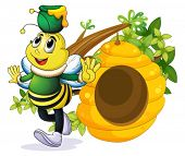 picture of beehive  - Illustration of a bee with a pot above its head near the beehive on a white background - JPG