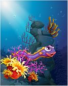 Illustration of an eel under the sea with coral reefs