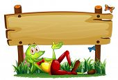 Illustration of a playful frog under the empty wooden signboard on a white background