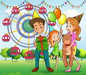 Illustration of a happy family at the carnival
