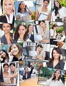 Photo montage of successful interracial mixed race business women, businesswoman using mobile cell p