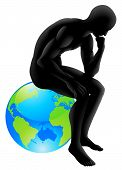 image of thinker  - Globe thinker concept thinker style person sitting on a globe could be concept for thinking about the environment or thinking globally - JPG