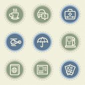 Travel web icon set 4, vintage buttons