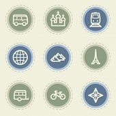 Travel web icon set 2, vintage buttons