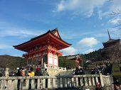 KYOTO, JAPAN - DECEMBER 30, 2013: Tourists visit Koyomizu temple in Kyoto.