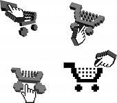 Quatro carrinhos 3D e cursores de mão