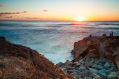 Sunset Cliffs Beach Coastline Sunset, San Diego California USA