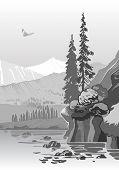 Beautiful Grayscale Mountain Landscape