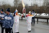 Russia, Nizhny Novgorod, on January 7, 2014. Olympic torch relay in Nizhny Novgorod 2014.01.07