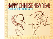 horse walking on Chinese New Year Card.