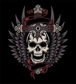 Winged Skull met Cross
