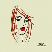art sketched beautiful girl half-face with straight red hair in vector