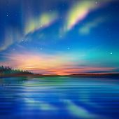 picture of aurora borealis  - abstract nature blue background with aurora borealis and forest - JPG