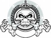 stock photo of skull  - skull and crossbones wearing crown with ribbon and backgroun - JPG