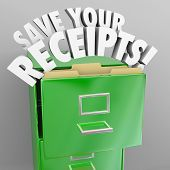 stock photo of neat  - Save Your Receipts File Cabinet Proof Money Spending Audit - JPG