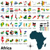 Maps With Flags Of Africa