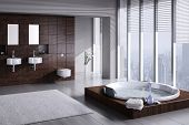 stock photo of mirror  - A 3D rendering of modern bathroom with double basin and jacuzzi - JPG