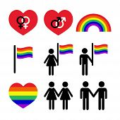 stock photo of bisexual  - GBLT community rights vector icons set isolated on white - JPG