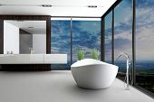 stock photo of window washing  - Beautiful Interior of a Modern Bathroom  - JPG