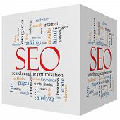Seo 3D Cube Word Cloud Concept
