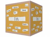 Tax 3D Cube Corkboard Word Concept