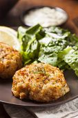 picture of crab-cakes  - Organic Homemade Crab Cakes with Lemon and Tartar Sauce